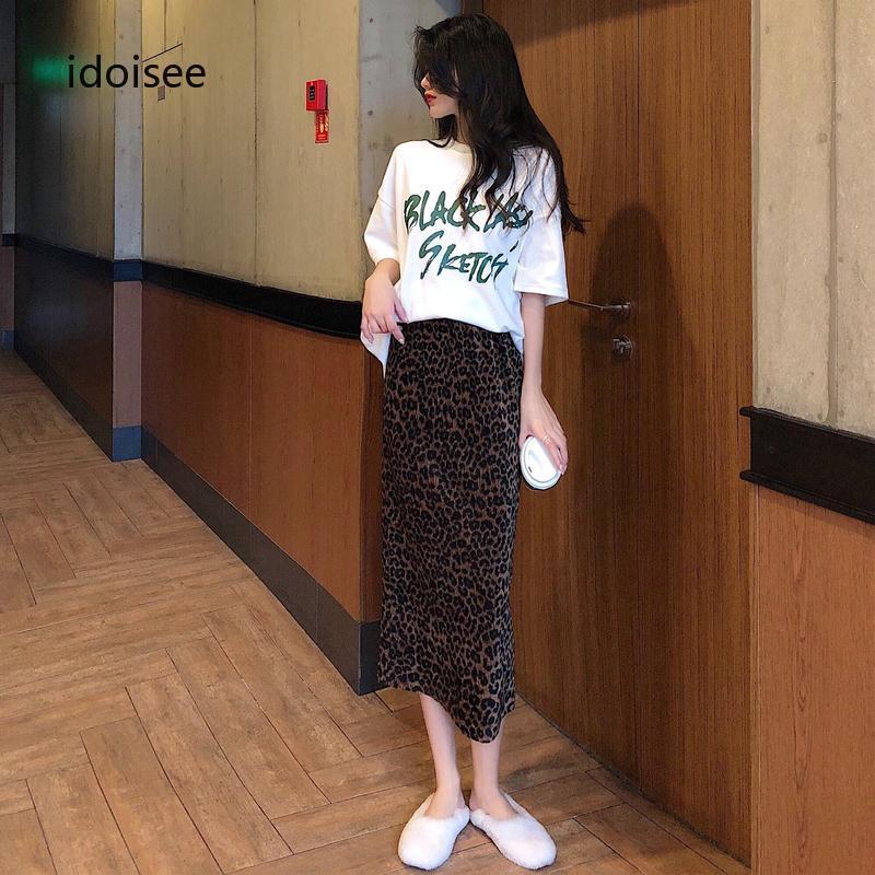 Chân Váy Da Báo+Áo Thun Tay Ngắn Thời Trang Cho Nữ