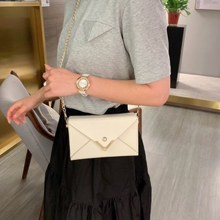 Korean Version Simple Solid Color Personalized Flip Shaped Envelope Magnetic Buckle Square Chain Pu Synthetic Leather Messenger Single Shoulder Bag