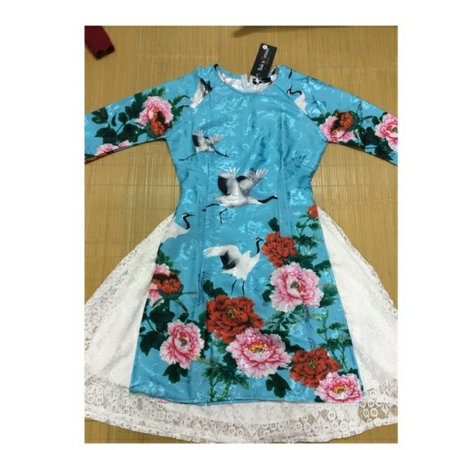 Set áo dài cách tân nữ xanh hoa hồng hạc trắng
