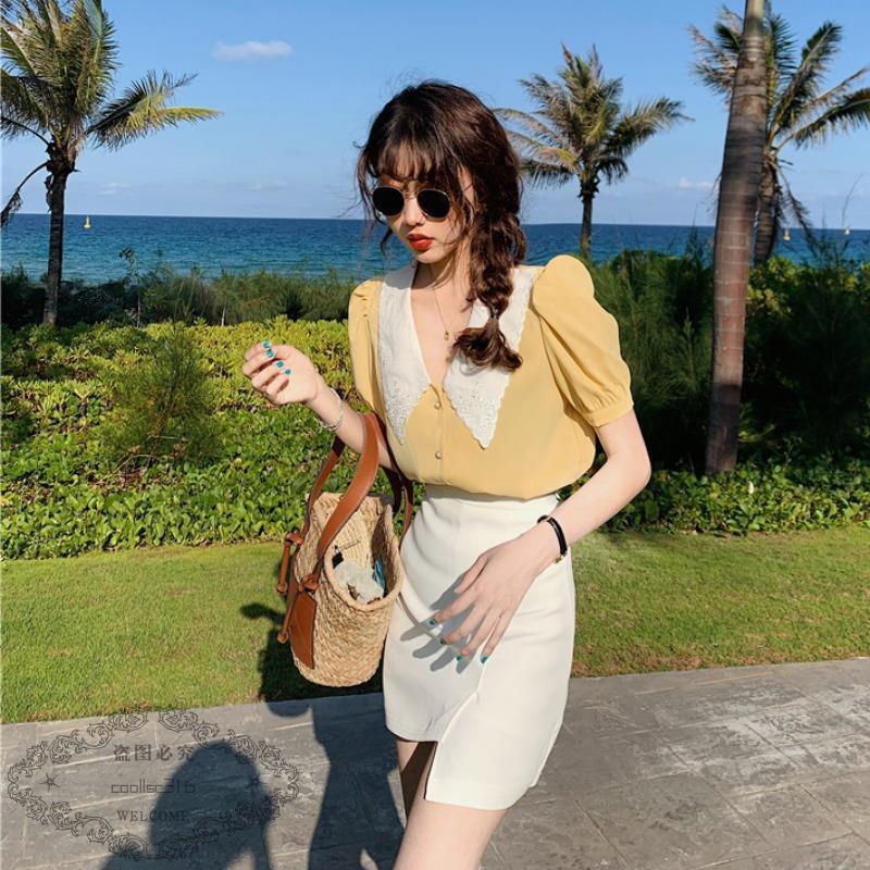 Bộ Áo Sơ Mi + Chân Váy Lệch Tà Thiết Kế Xinh Xắn Cho Nữ