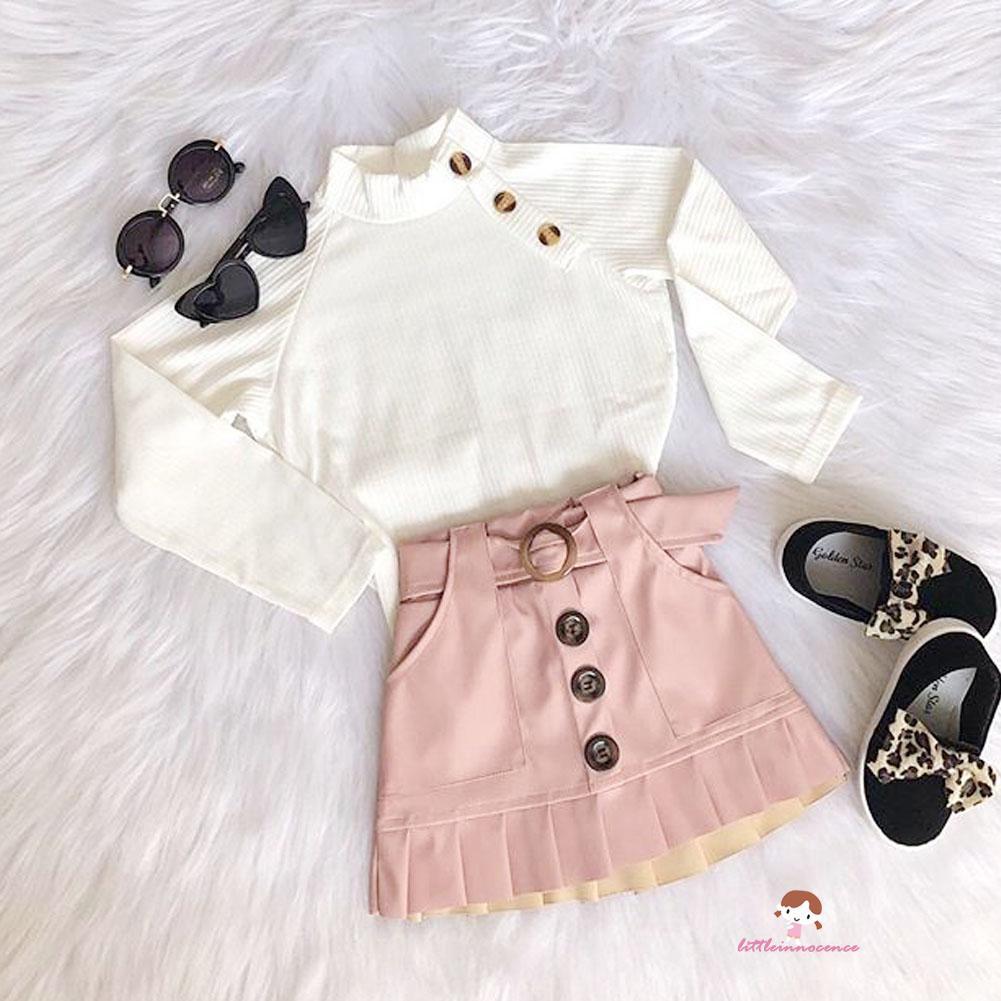 Set áo dài tay cổ tròn + chân váy ngắn đáng yêu cho bé gái