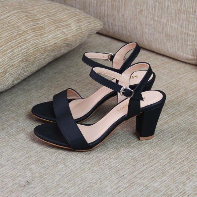 Sandal quai ngang gót vuông 7 phân