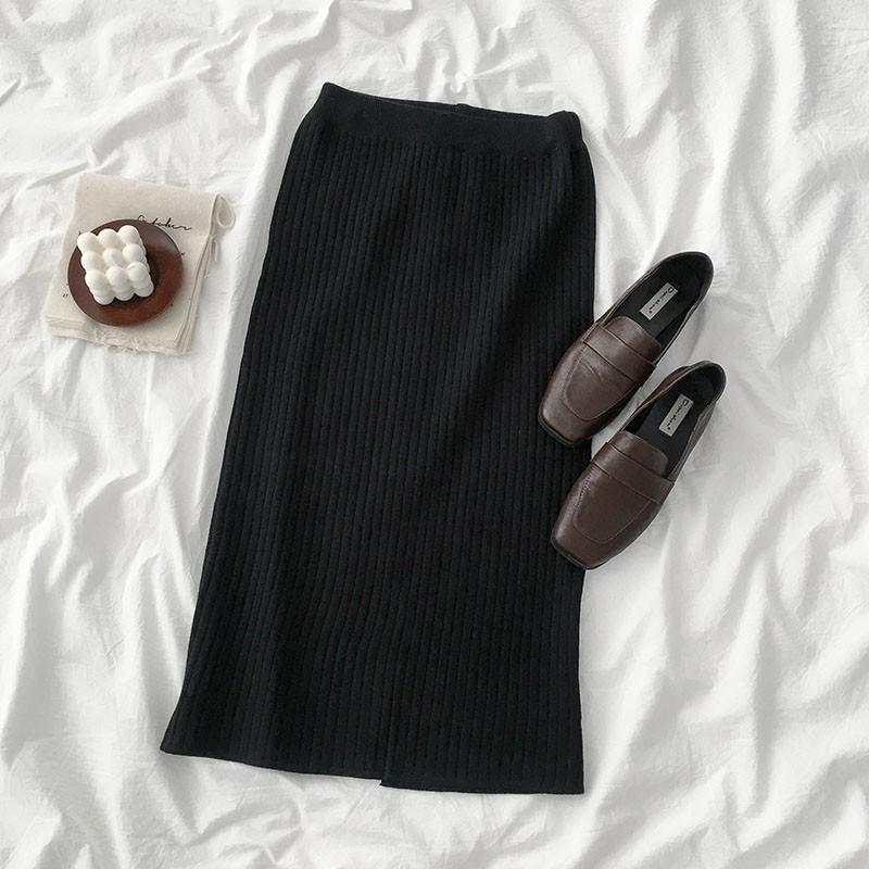 Chân váy len đen xẻ vạt sau dáng dài ulzzang s5