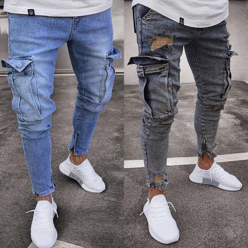 Quần Jeans Nam Dài Ôm Chân Mài Rách Thời Trang