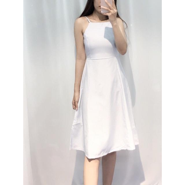 Đầm xòe cổ yếm hàng thiết kế,chất kaki mềm đẹp