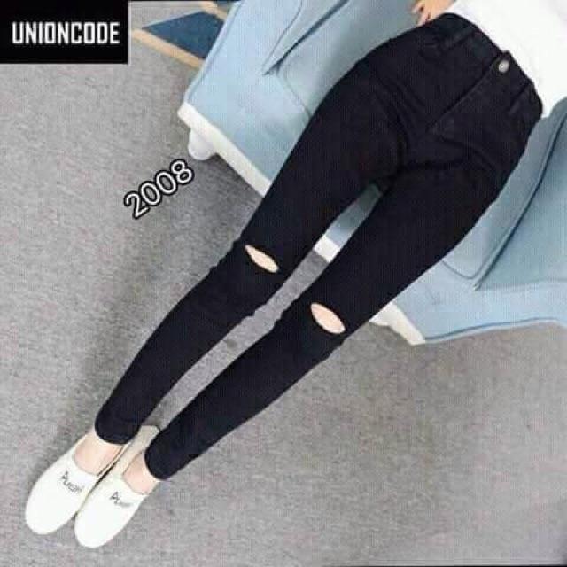 quần jean đen rách gối cực đẹp