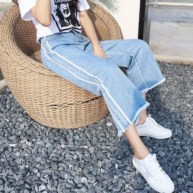 [Có sẵn]Quần jeans rộng chần viền trắng ulzzang
