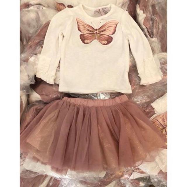 Set áo chân váy hồng Catherine Malandrino hình con bướm