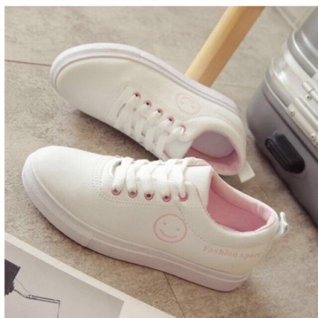 (QUÀ TẶNG) Giày thể thao Sneakers mặt cười hồng