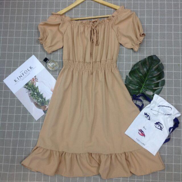 869588346 - Váy đầm bánh bèo màu nude dễ thương dáng chữ A công chúa