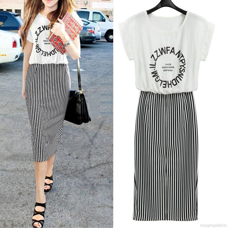 Chân váy lửng họa tiết sọc đen trắng thời trang cho nữ
