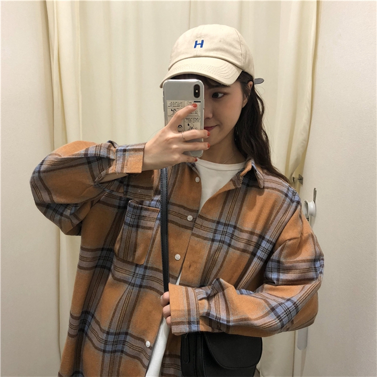 hy1.vn blouse◆Real price retro-polished cotton loose long-sleeved checked shirt jacket shirtnew