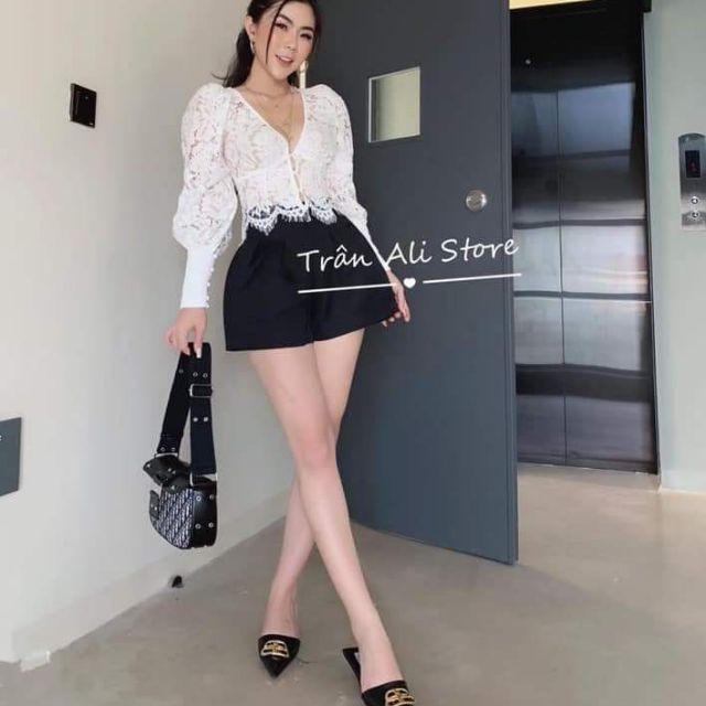 Sét áo ren tay phồng+ chân váy quần