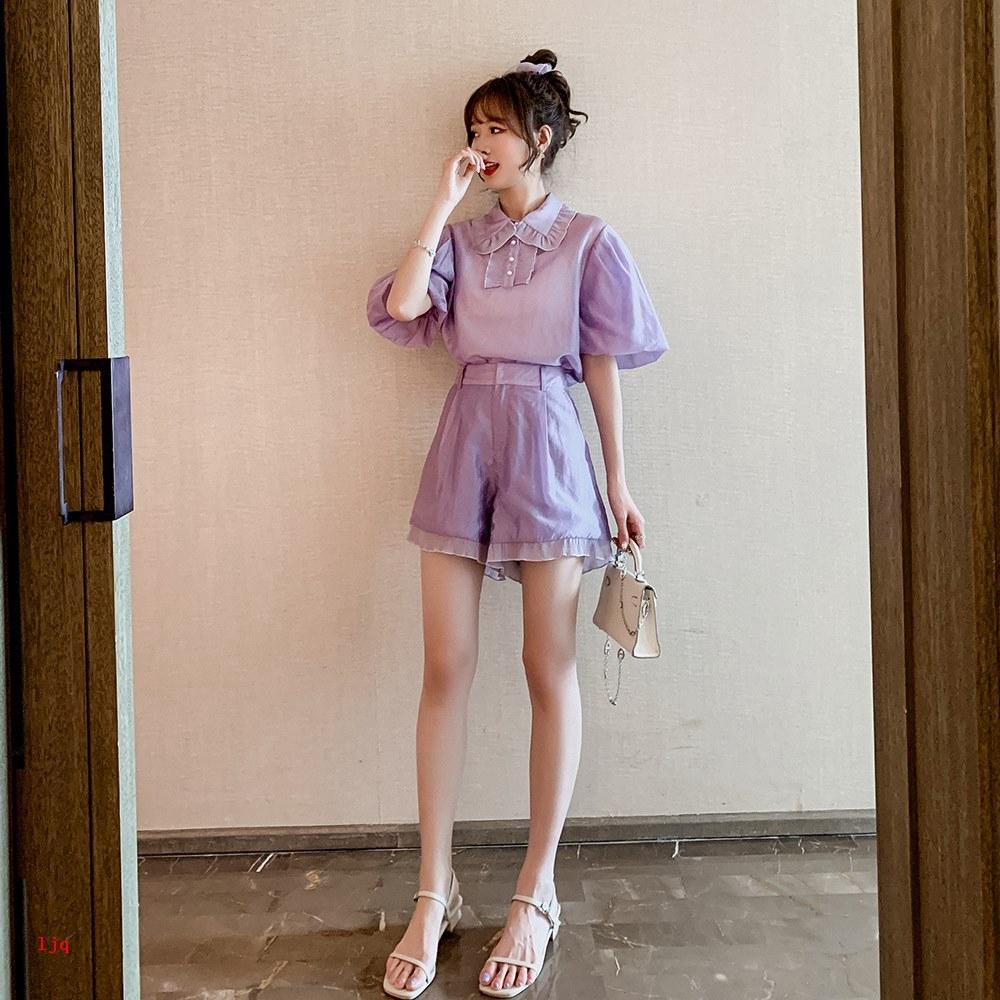 Bộ Áo Sơ Mi Tay Phồng Dáng Rộng + Chân Váy Xinh Xắn Dành Cho Nữ 2020