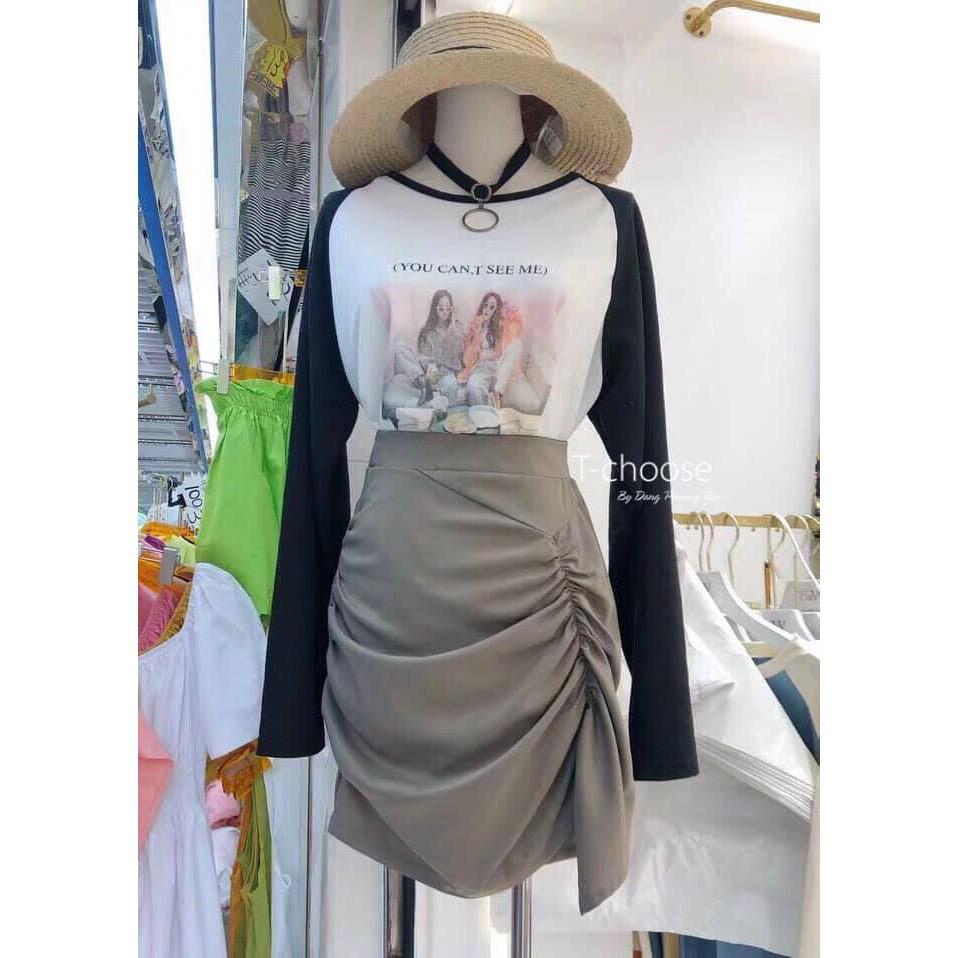 Sét áo tay dài in + chân váy nhúng so cute