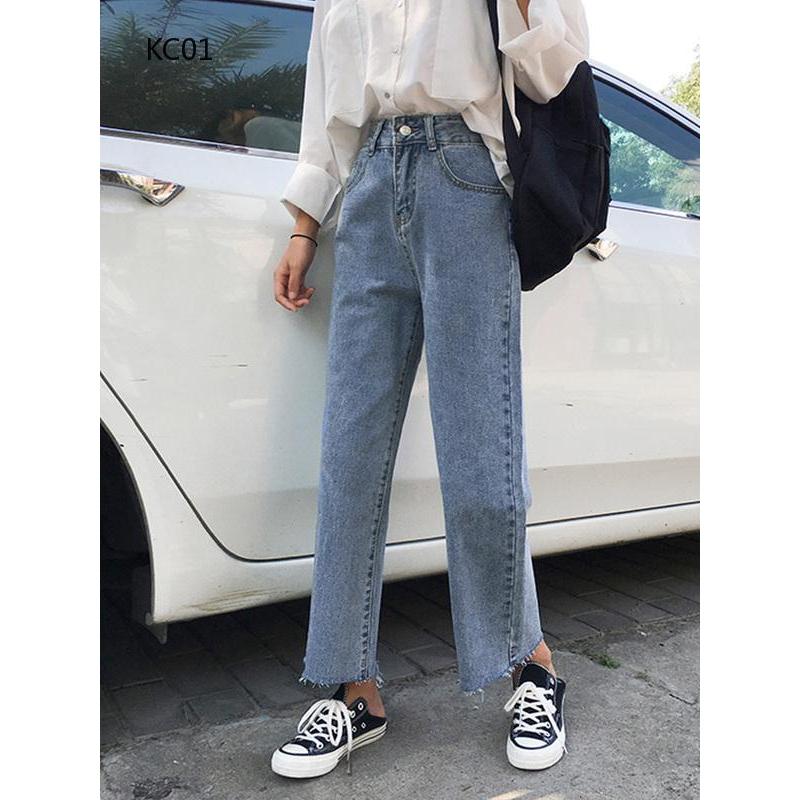 Quần jeans nữ dài bó sát thời trang Hàn