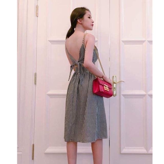 KM đầm xoè caro cột nơ lưng kèm ảnh thật NQ boutique thời trang nữ