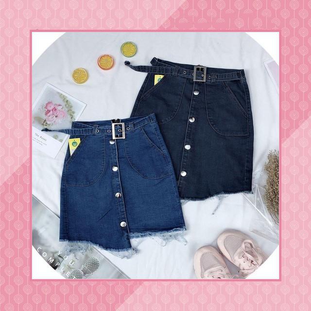 [First Love] 12C17B1 Chân váy jean phối nút kèm nịt lai so le dễ thương đủ size SML