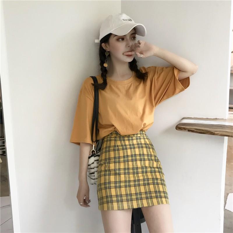 set áo thun+chân váy lưng cao thời trang nữ