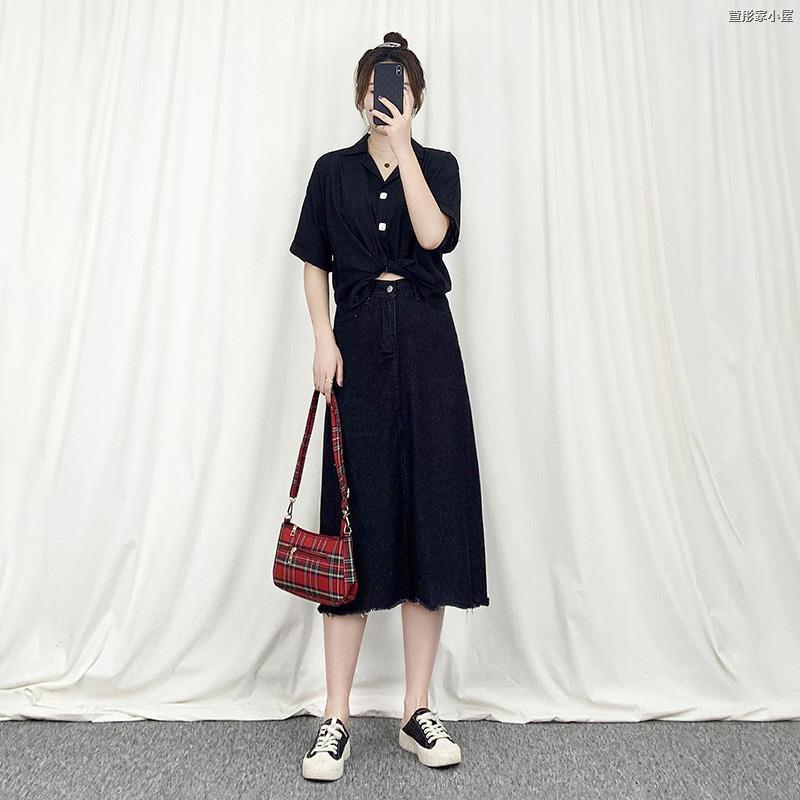 Bộ Áo Sơ Mi + Chân Váy Denim Thời Trang Mùa Hè Phương Tây Cho Nữ