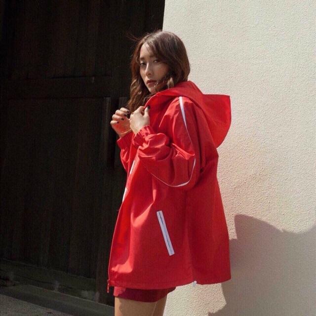 Áo khoác dù sọc tay dây kéo túi