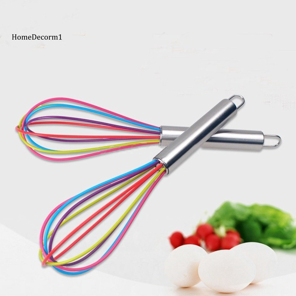 HMDC_Stainless Steel Handle Silicone Balloon Wire Egg Beater Whisk Mixer Kitchen Tool