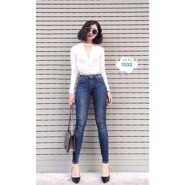 Quần jean dài nữ phom chuẩn - vải dày dặn - co giãn manh- ABC1032
