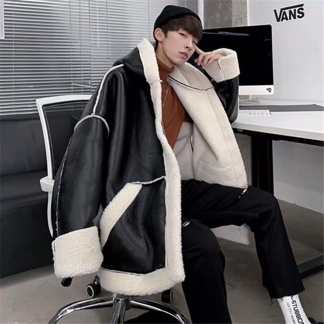 [ ̉  ̂́ ] order áo khoác lông da lộn hàn quốc