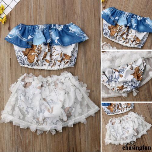 Set áo ngắn và chân váy vải tuyn dễ thương cho bé gái