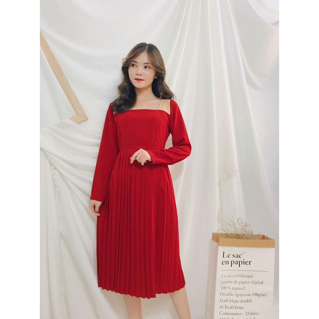 Đầm dập ly đỏ dài tay