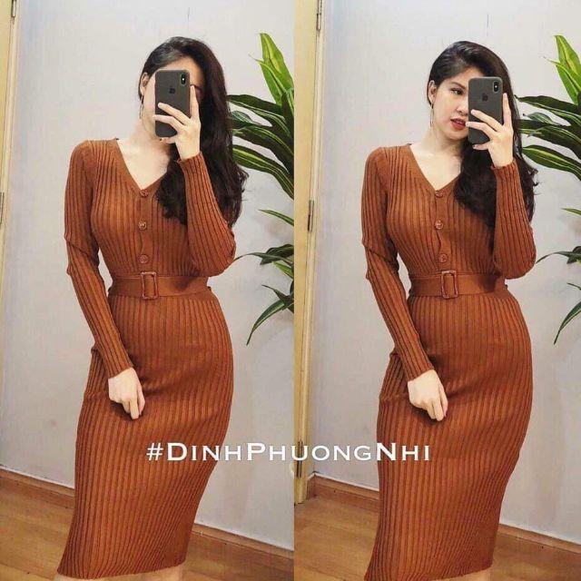 Váy len body màu nâu tây (có video sản phẩm)