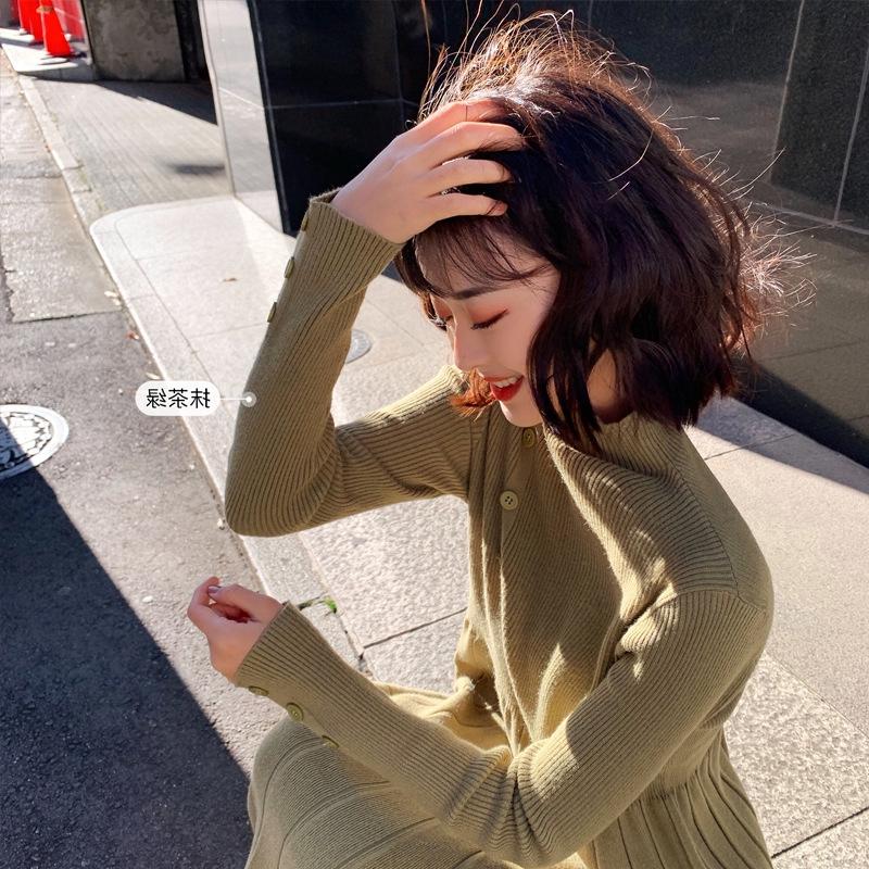 Chân Váy Dệt Kim Phối Nút Xinh Xắn Theo Phong Cách Hàn Quốc