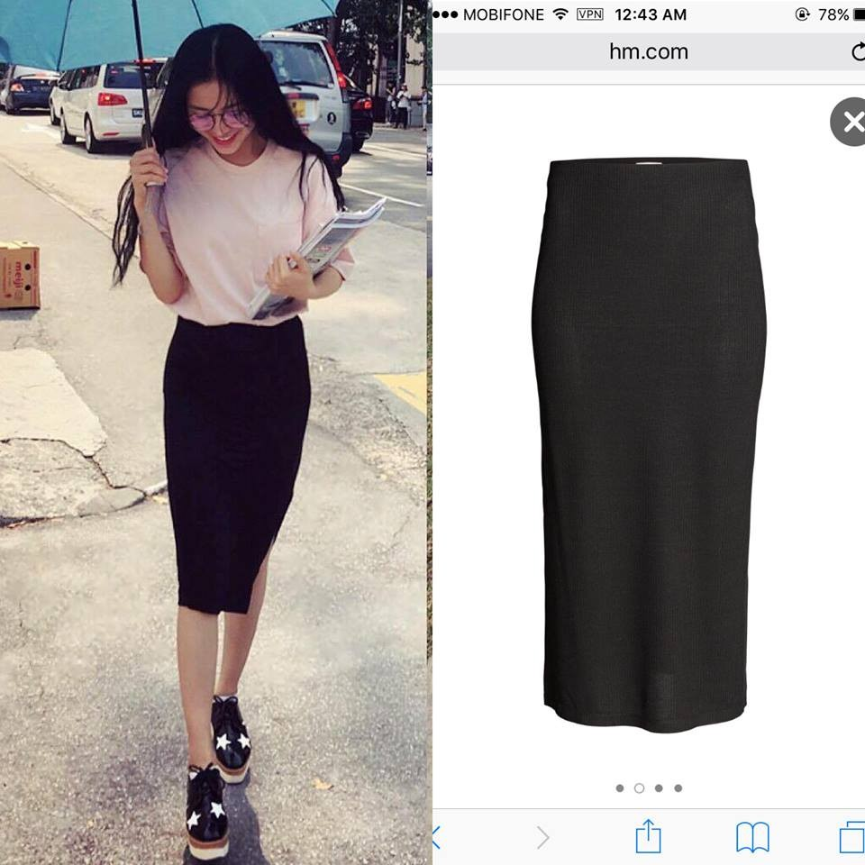 Chân váy thiết kế midi dáng bút chì xẻ 1 bên màu đen