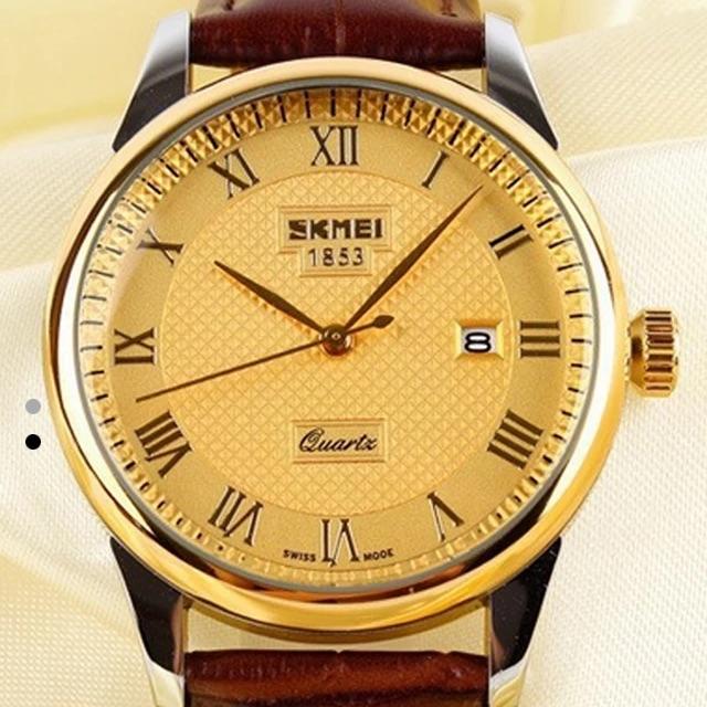 Đồng hồ nam Skmei 1853 dây da nâu mặt vàng