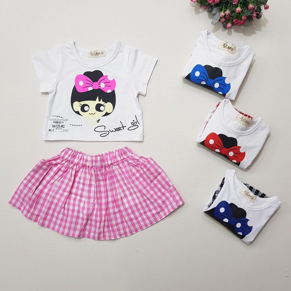 94125-M1- Bộ BG chân váy,cotton, in bé gái, đỏ,Made in VietNam,size bé 1-7/ri7,(combo 7 sản phẩm từ nhỏ đến lớn)