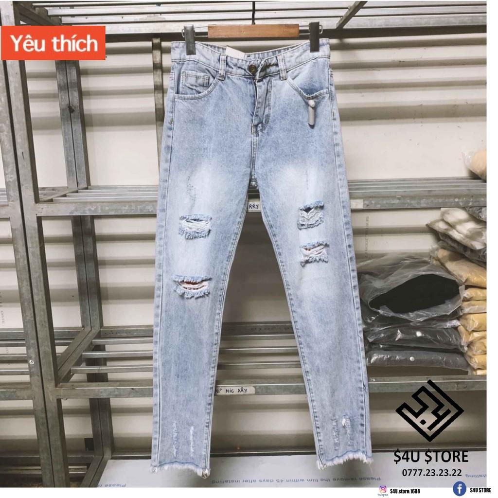 Được Kiểm Hàng Trước Quần jeans rách gối mix cắt ống HÀNG SIÊU CẤP