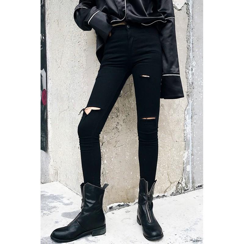 Quần Jeans Rách Gối Chất Liệu Co Giãn Phong Cách Hàn Quốc Cho Nữ Size S-5xl