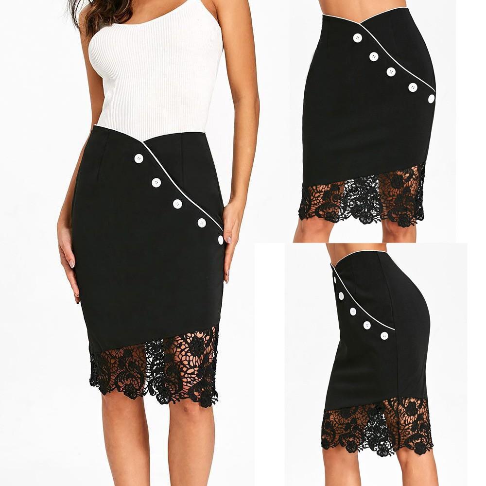 Chân váy lưng thun phối ren đính nút thời trang nữ tính