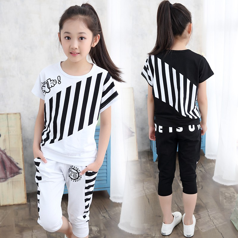 ﹍Children's clothing girl Summer dress new 2019 Kids Korean short sleeve set in the Big Boy girl's sports two-piece