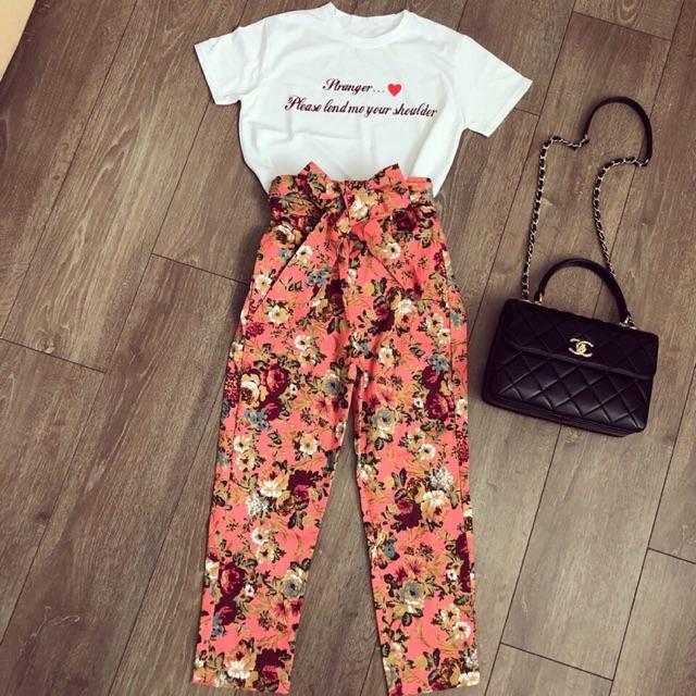 Set áo thun quần hoa