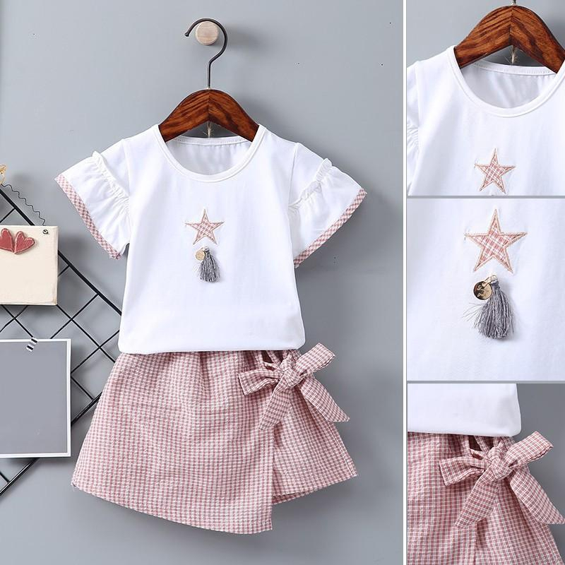 Set áo thun ngắn tay + chân váy sọc caro cho bé gái