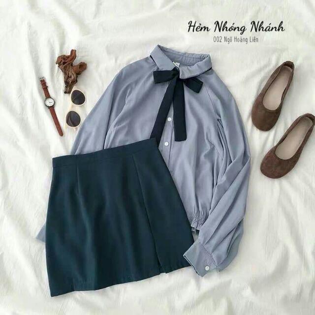 [ có sẵn ] Áo sơ mi chân váy xinh xinh