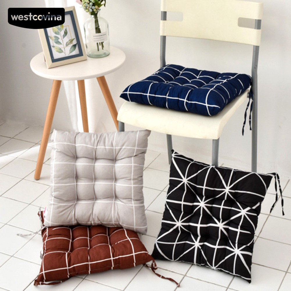 WEST 40x40cm Square Stripe Seat Home Tie on Chair Cushion Car Pad Pillow