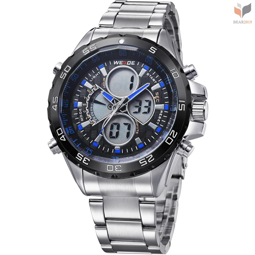 BEAR- WEIDE WH1103 Dual Display Two Movement Quartz Digital Men Watch 3ATM Waterproof LCD Backlight