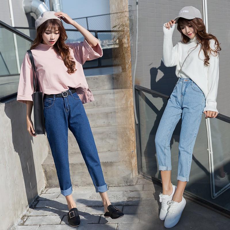 Quần jean dài lưng cao chất vải co giãn thời trang cho nữ