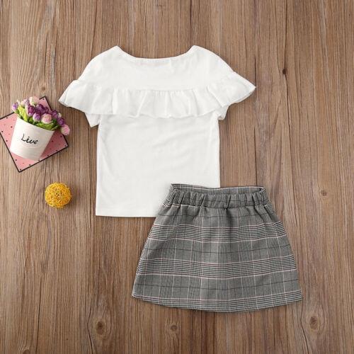 Bộ áo thun phối bèo + chân váy caro thời trang mùa hè cho bé gái