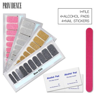 💕💅4Sheets Solid Color Nail Stickers with Alcohol Pad File Strips