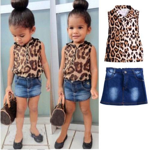 Set áo thun hoạ tiết da báo + chân váy cho bé gái từ 2-8 tuổi