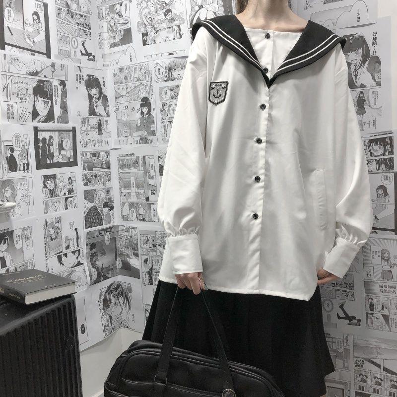 Set Áo Sơ Mi Tay Dài Dáng Rộng + Chân Váy Xếp Ly Lưng Cao Xinh Xắn Cho Nữ