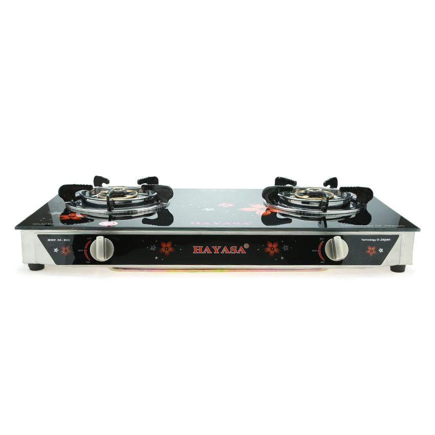Bếp ga đôi kiếng cường lực cao cấp Hayasa HA-8010 Điếu Inox - Sen Đồng
